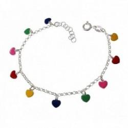 Pulsera plata Ley 925m niña 15 cm. corazones esmaltados colores colgantes 5 mm. cadena rolo reasa
