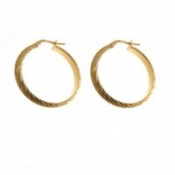 Pendientes plata Ley 925m chapados oro 20 mm. mujer detalles media caña