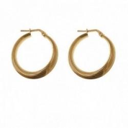 Pendientes plata Ley 925m chapados oro 20 mm. mujer hilos disminución
