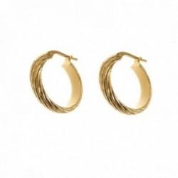 Pendientes plata Ley 925m chapados oro 15 mm. mujer media caña detalles