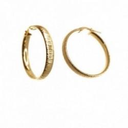 Pendientes plata Ley 925m chapados oro 21 mm. mujer detalles media caña