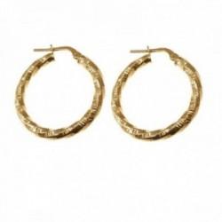 Pendientes plata Ley 925m chapados oro 20 mm. mujer reliados