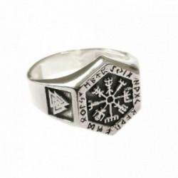 Sello plata Ley 925m hombre Vikingo hexagonal