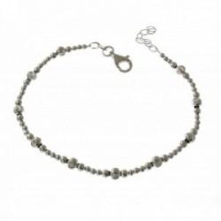 Pulsera plata Ley 925m mujer 17.5 cm. bolas combinadas lisas talladas mosquetón
