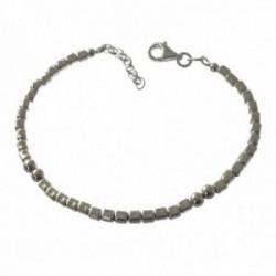 Pulsera plata Ley 925m mujer 17 cm. formas cuadradas 3 mm. combinadas bolas