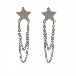 Pendientes plata Ley 925m mujer 2.5 cm. estrella lisa 9 mm. combinada cadena presión