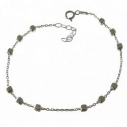 Pulsera plata Ley 925m mujer 18.5 cm. formas cuadradas 3 mm. combinadas cadena forzada reasa