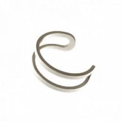 Pendiente ear cuff medio par plata Ley 925m mujer 13 mm. adaptable