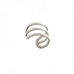Pendiente ear cuff medio par plata Ley 925m mujer 13 mm. triple hilo adaptable