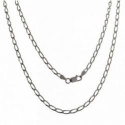 Cadena plata Ley 925m unisex 50 cm. bilbao 3 mm. mosquetón