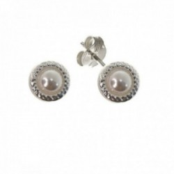 Pendientes plata Ley 925m mujer 10 mm. bocel perla centro presión