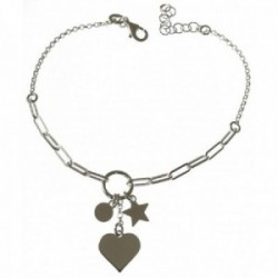 Pulsera plata Ley 925m mujer 17 cm. detalle corazón 10 mm. combinado estrella disco 5 mm. aro