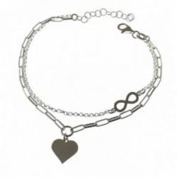 Pulsera plata Ley 925m mujer 16.5 cm. forzada alargada rolo detalle corazón combinado infinito