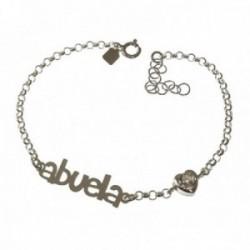 Pulsera plata Ley 925m mujer 17 cm. cadena rolo ABUELA 3 cm. combinado corazón circonita