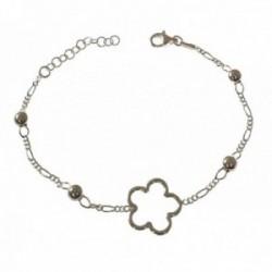 Pulsera plata Ley 925m mujer 16 cm. cadena combinada flor calada centro 15 mm. bolas mosquetón