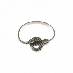 Sortija plata Ley 925m mujer serpiente oxidada