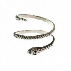Sortija plata Ley 925m mujer serpiente reliada oxidada