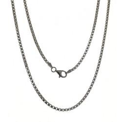 Cadena plata Ley 925m unisex 60 cm. Veneciana redonda mosquetón
