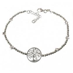 Pulsera plata Ley 925m mujer 19 cm. árbol vida calado combinados estrellas bolas lisas talladas