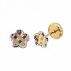 Pendientes oro bicolor 18k niña 4 mm. flor detalles centro