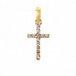 Cruz colgante oro 18k mujer 13 mm. circonitas color blanco combinadas negras laterales lisos