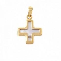 Cruz colgante oro 18k mujer 15 mm. nácar combinado bordes lisos
