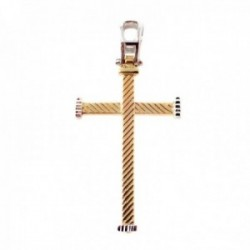 Cruz colgante oro bicolor 18k unisex 26 mm. barras detalles bordes combinados asa calada