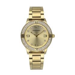 Reloj Radiant mujer RA564201 Frozen Gold acero inoxidable dorado detalles piedra esfera caja