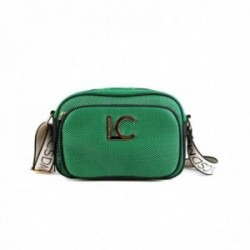 Bandolera Lola Casademunt bolso verde rejilla acabados negro tres bolsillos exteriores