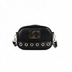 Bandolera Lola Casademunt bolso negro troquelado LC detalles dorados