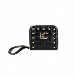 Monedero Lola Casademunt negro monograma LC dorado tachas bordes