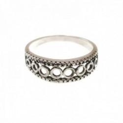Sortija plata Ley 925m mujer círculos calados detalles bordes oxidada