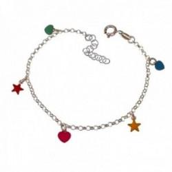 Pulsera plata Ley 925m niña 15 cm. colgantes corazones estrellas esmaltados colores reasa
