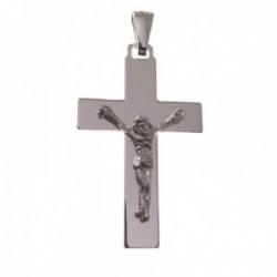 Cruz crucifijo plata Ley 925m unisex 35 mm. lisa Cristo centro