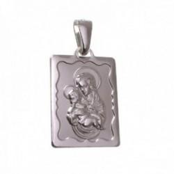 Escapulario plata Ley 925m medalla rectangular 20 mm. Virgen centro detalles ondulados bordes