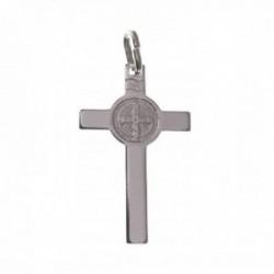 Cruz plata Ley 925m colgante 28 mm. San Benito centro combinado lisa