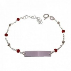 Esclava plata Ley 925m niña 15 cm. cadena combinada bolas piedras color rojo chapa lisa 22 mm. reasa