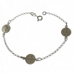 Pulsera plata Ley 925m San Benito 19 cm. cadena rolo medallas 10 mm. reasa