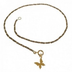 Gargantilla plata Ley 925m mujer 41.5 cm. chapada oro piedras color gris mariposa colgante 15 mm.