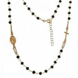 Gargantilla plata Ley 925m chapada oro 50 cm. piedras color negro combinada Milagrosa-Cruz