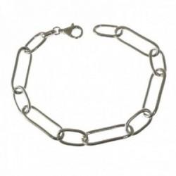 Pulsera plata Ley 925m eslabones enlazados 20 cm. huecos lisos mosquetón