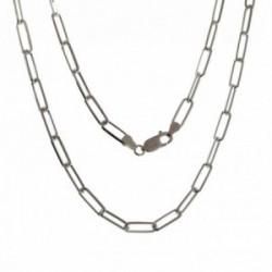 Cadena plata Ley 925m unisex 50 cm. forzada alargada 1.3 cm. reasa