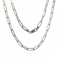 Cadena plata Ley 925m unisex 45 cm. forzada alargada 1.3 cm. mosquetón