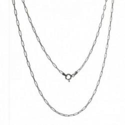Cadena plata Ley 925m unisex 40 cm. forzada alargada 1.3 cm. mosquetón