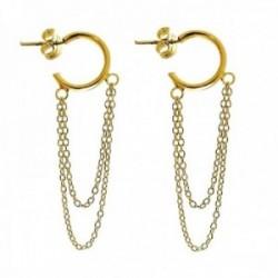Pendientes plata Ley 925m mujer largos chapados oro 3 cm. aro 10 mm. doble cadena presión