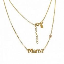 Gargantilla plata Ley 925m mujer rolo 43 cm. mensaje MAMÁ  1.6 cm. chapada oro combinada perla reasa