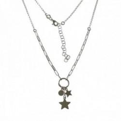 Gargantilla plata Ley 925m mujer 40 cm. rolo combinado aro 9 mm. discos estrellas mosquetón