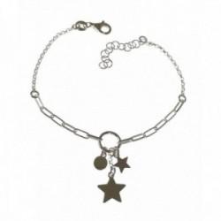 Pulsera plata Ley 925m mujer 16 cm. doble cadena rolo forzada alargada detalle disco estrellas