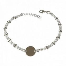 Pulsera plata Ley 925m mujer 17 cm. doble cadena motivo disco 11 mm. mosquetón