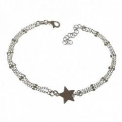 Pulsera plata Ley 925m mujer 17 cm. doble cadena barbada combinada detalles tallados estrella lisa